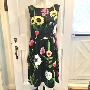 LINDY BOP Wild Garden Audrey Swing Dress SZ 12